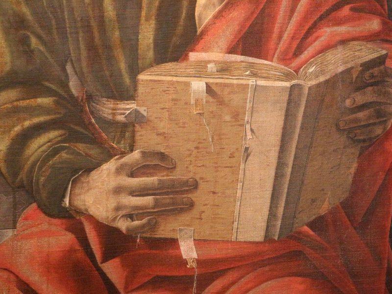 Francesco_del_cossa,_pala_dei_mercanti,_col_committente_alberto_de'_cattanei,_1474,_09_libro